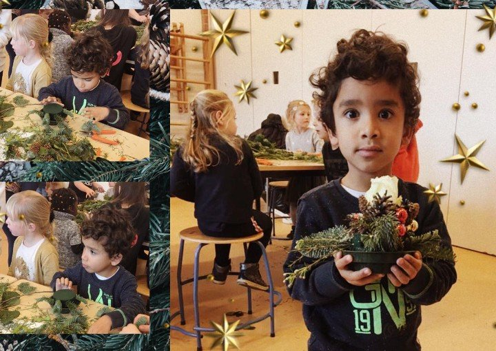 Dutch children make Christmas floral arrangements  with Avalanche + roses